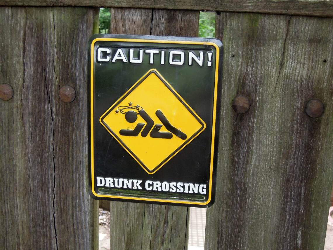 Drunk crossing